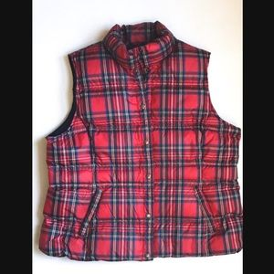 Lands' End | Red Plaid Down Vest | Size 1X